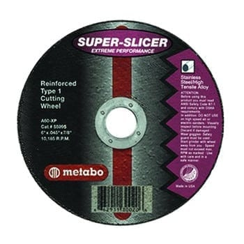 Metabo 655995000-   6 in. x 0.045 in. A60XP Type 1 SUPER-SLICER Extreme Performance Cutting Wheel