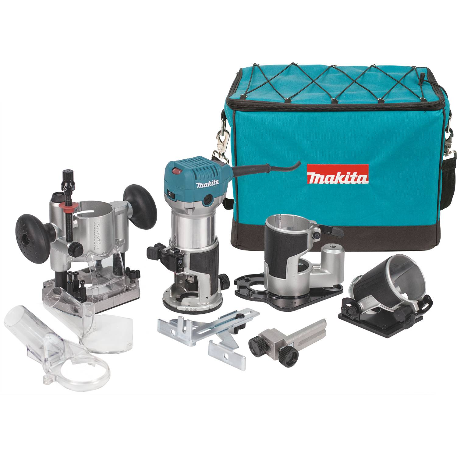 Makita 1 1 4 hp compact router laminate trimmer kit for 3 1 4 hp router motor only