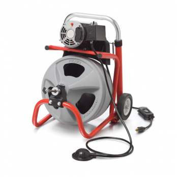 """RIDGID 27008 K-400 Drain Cleaner with Two Wheel Cart, C-32 IW 3/8"""" x 75' Solid Core (Integral Wound) Cable and Auto Feed"""