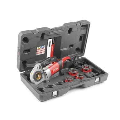 "Ridgid 44918 600-I Hand-Held Power Drive w/ 1/2""-1 1/4"" NPT 11R Die Heads, Case and Support Arm"