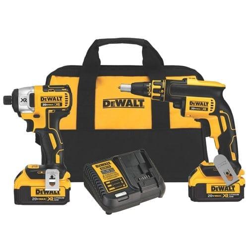 DEWALT DCK262M2 20v MAX* XR Li-Ion Cordless Drywall Screwgun & Impact Driver Kit (4.0Ah)