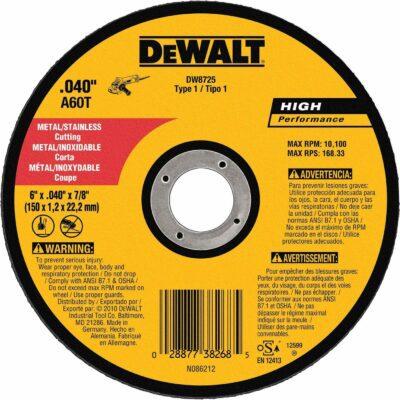 """DeWALT DW8725 Metal Thin Grinding Abrasive Cutoff Wheel A60T (6""""x.040""""x7/8"""")"""