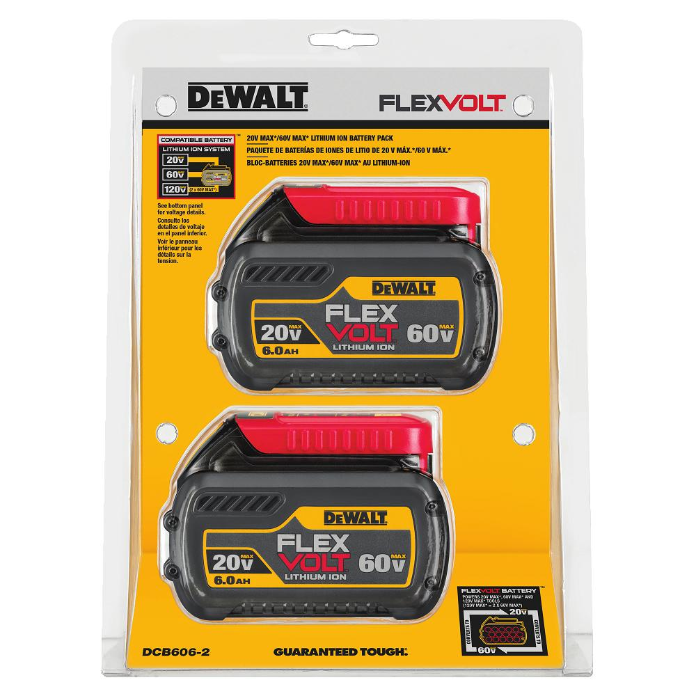 Dewalt Dcb606 2 20 60v Max Flexvolt 6 0ah 2 Pack Kit