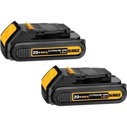 DeWALT DCB201-2 20V MAX 1.5Ah Lithium Ion Compact Battery Pack  - 2 Pack