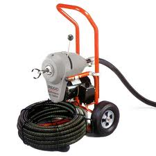 """Ridgid 23702 K-1500 """"A"""" Frame Sectional Machine with 7 Sections of 1-1/4"""" (C-14) Cable (105'), Mitt, Pin Key, and Rear Guide Hose - For 2"""" to 8"""" Drain and Sewer Lines"""