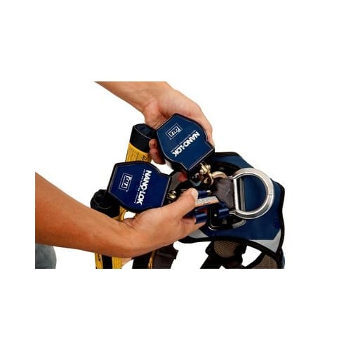 3M™ DBI-SALA® 3101277 Nano-Lok™ Twin-Leg Quick Connect Self Retracting Lifeline, w/ Rebar Hooks ...