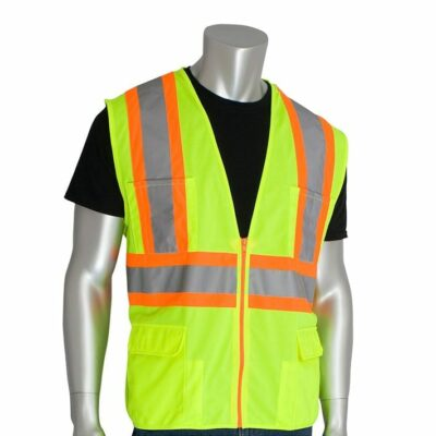 PIP 302-MAP Two-Tone Premium Solid Surveyors Vest, Lime Yellow