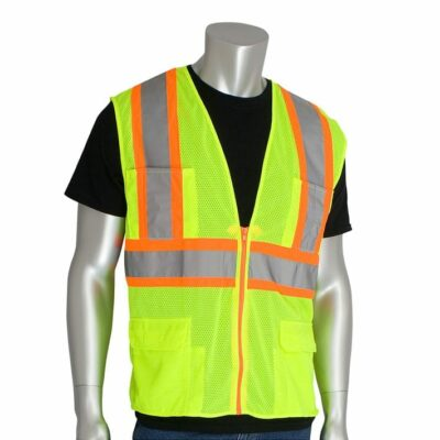 PIP 302-MAPM-LY Two-Tone Premium Mesh Surveyors Vest, Lime Yellow