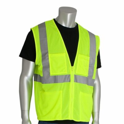 PIP 302-MVGZ4P-LY Value Mesh Vest w/ 4 Pockets, Lime Yellow