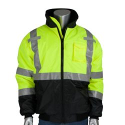 PIP 333-1740-LY Black Bottom Bomber Jacket, ANSI Type R Class 3, Lime-Yellow/Black