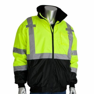 PIP 333-1766-LY Black Bottom Bomber Jacket w/ Zip-Out Fleece Liner, ANSI Type R Class 3, Lime-Yellow/Black