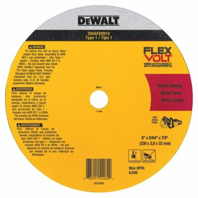 DeWALT DWAFV8918 FLEXVOLT® Ceramic Metal Cutoff Wheel Type 1