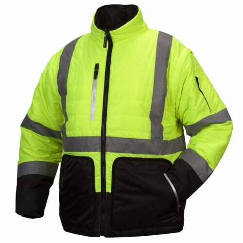 Pyramex RJR3310 Hi-Vis Safety Jacket, Type R - Class 3, Lime/Black