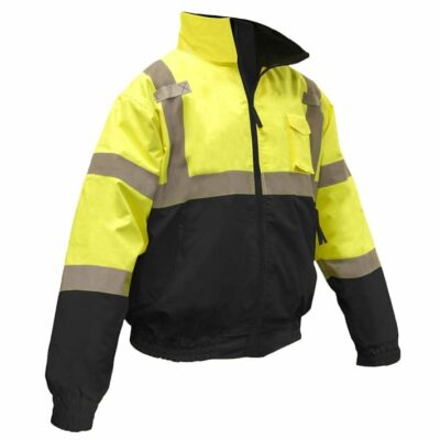 Radians SJ110B-3ZGS Two-in-One High Visibility Bomber Safety Jacket, Lime Green/Black, ANSI Type R Class 3
