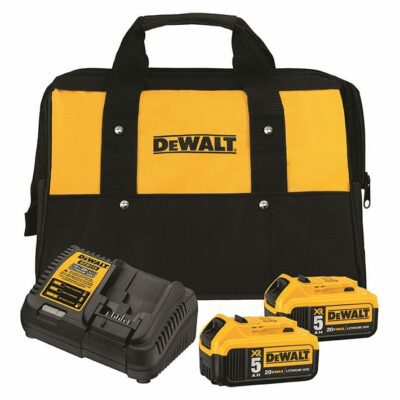 DeWALT DCB205-2CK 20V MAX* 5.0Ah Li-Ion Battery Starter Kit, 2-Pack w/ Charger & Tool Bag