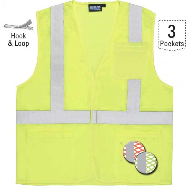 ERB Economy Class 2 Mesh Vest with Pockets - Hi Viz Lime, Size XL