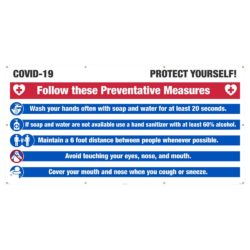 Covid-19 Protect Yourself Mesh Banner w/ Grommets