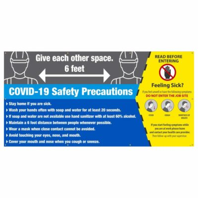 Covid-19 Safety Precautions Banner w/ Grommets