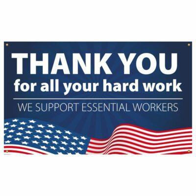 Thank You Essential Workers, Patriotic Vinyl Banner w/ Grommets