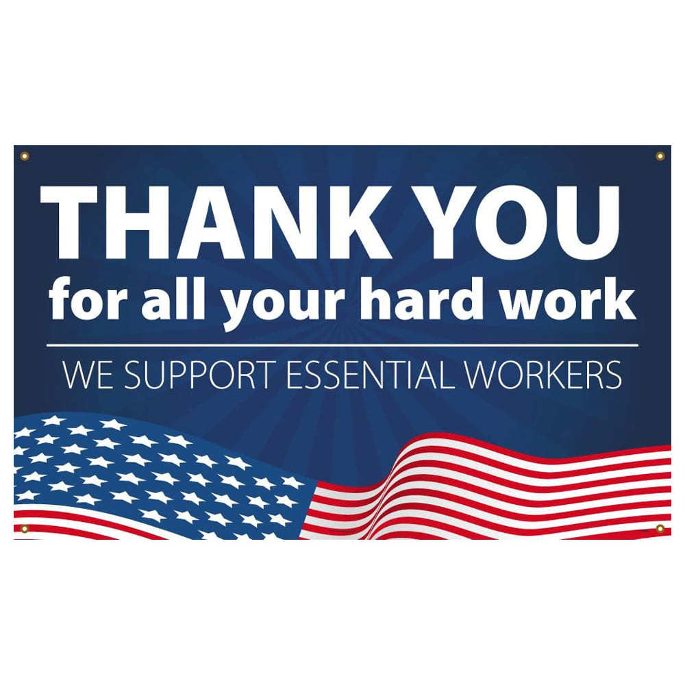 Thank You Essential Workers, Patriotic Vinyl Banner w/ Grommets