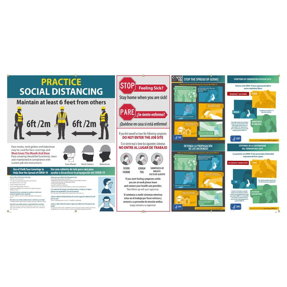 Practice Social Distancing, Multi-Message Vinyl Banner w/ Grommets, English/Spanish