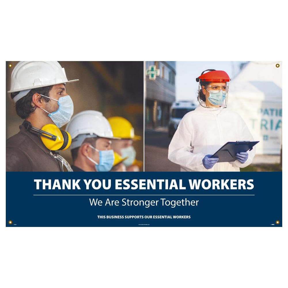 Thank You Essential Workers, We Are Stronger Together, Vinyl Banner w/ Grommets