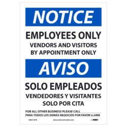 Notice Employees Only Sign, Bilingual