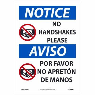 No Handshakes Please Sign