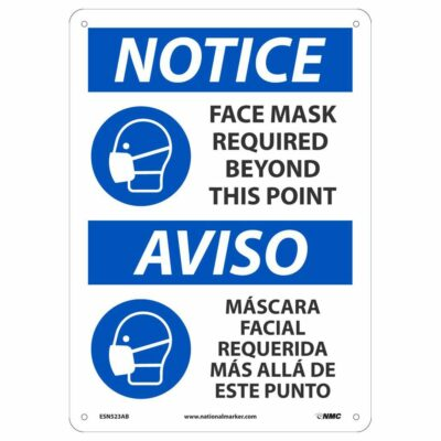 "NOTICE FACE MASK REQUIRED BEYOND THIS POINT SIGN, 14"" X 10"""