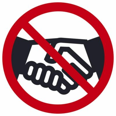 No Handshaking Graphic Label, Pack of 10