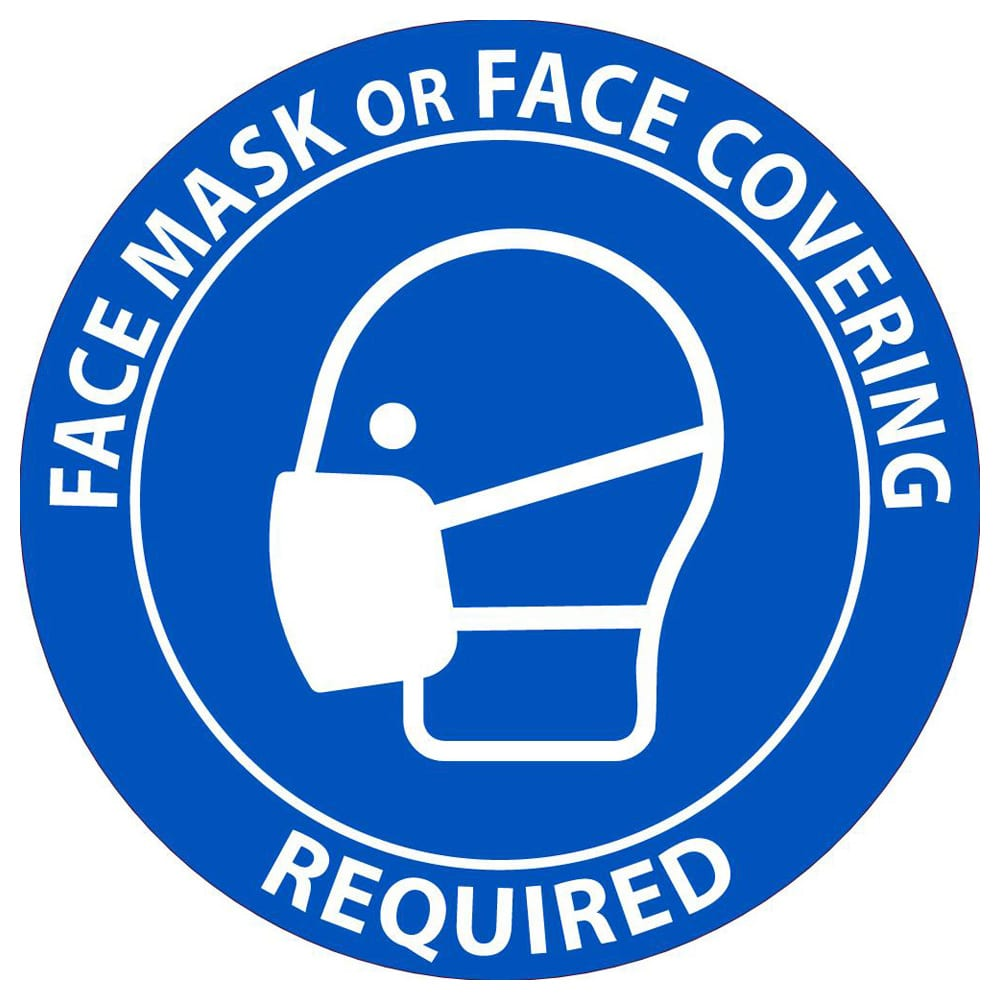 Face Mask or Covering Required Label, Pressure Sensitive Vinyl, 5-Pack