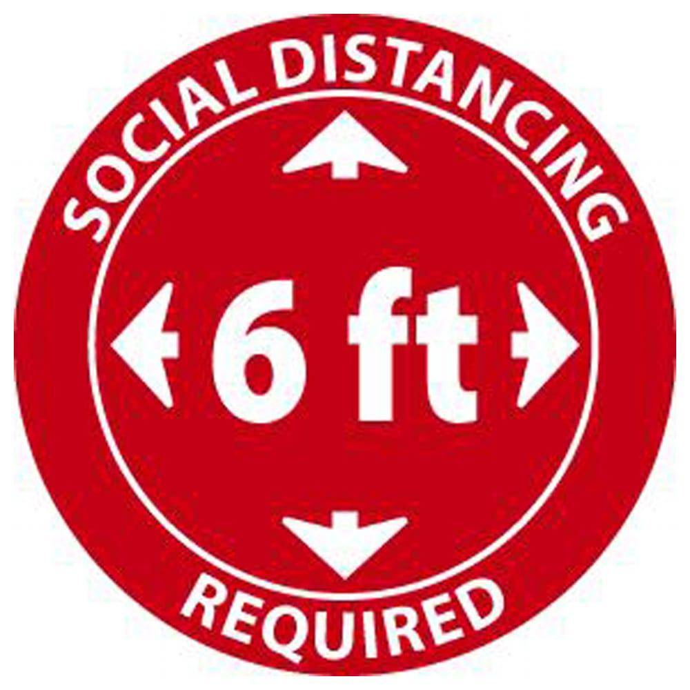 Social Distancing Required Label, Pressure Sensitive Vinyl, 5-Pack