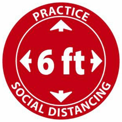 Practice Social Distancing Label, Pressure Sensitive Vinyl, 5-Pack