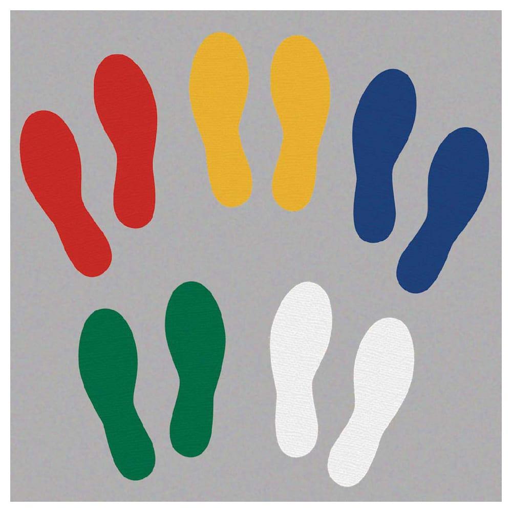 Footprints, Left & Right, Heavy Duty Pressure Sensitive Vinyl, 25-Pack