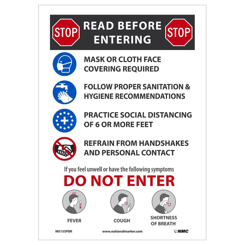 "Stop Read Before Entering Sign, 14"" x 10"""