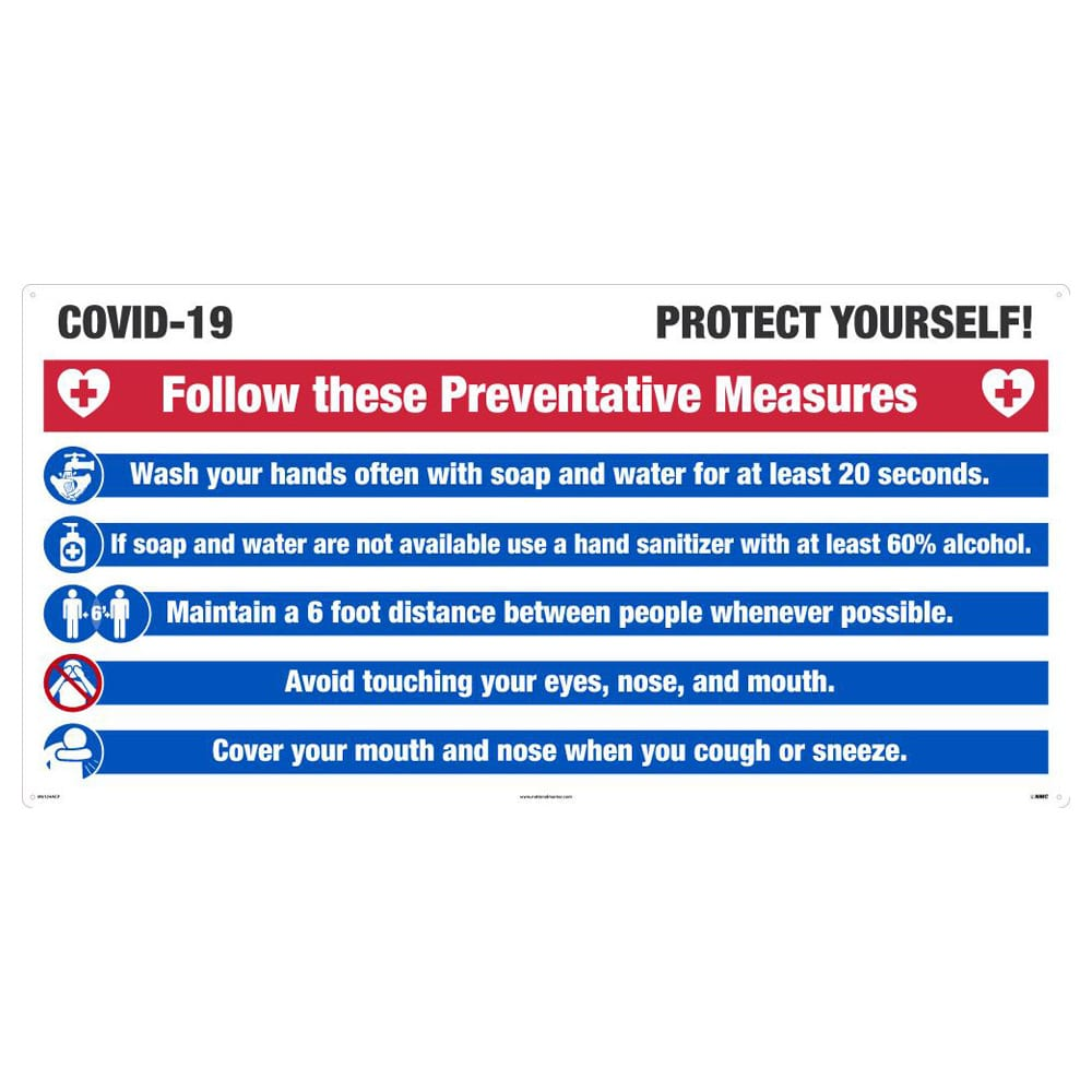 COVID-19 PROTECT YOURSELF SIGN, ALUMINUM COMPOSITE PANEL, LARGE FORMAT