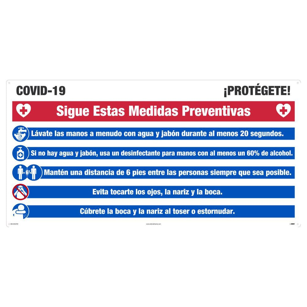COVID-19 PROTECT YOURSELF SIGN, ALUMINUM COMPOSITE PANEL, LARGE FORMAT, SPANISH