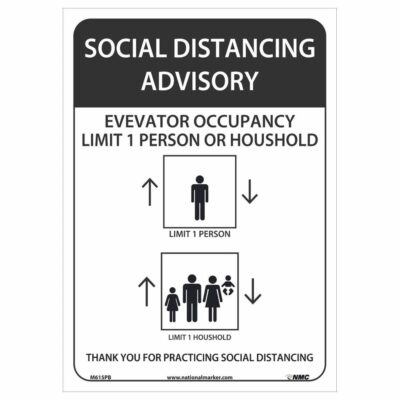 SOCIAL DISTANCING ADVISORY ELEVATORY OCCUPANY SIGN, 14 X 10