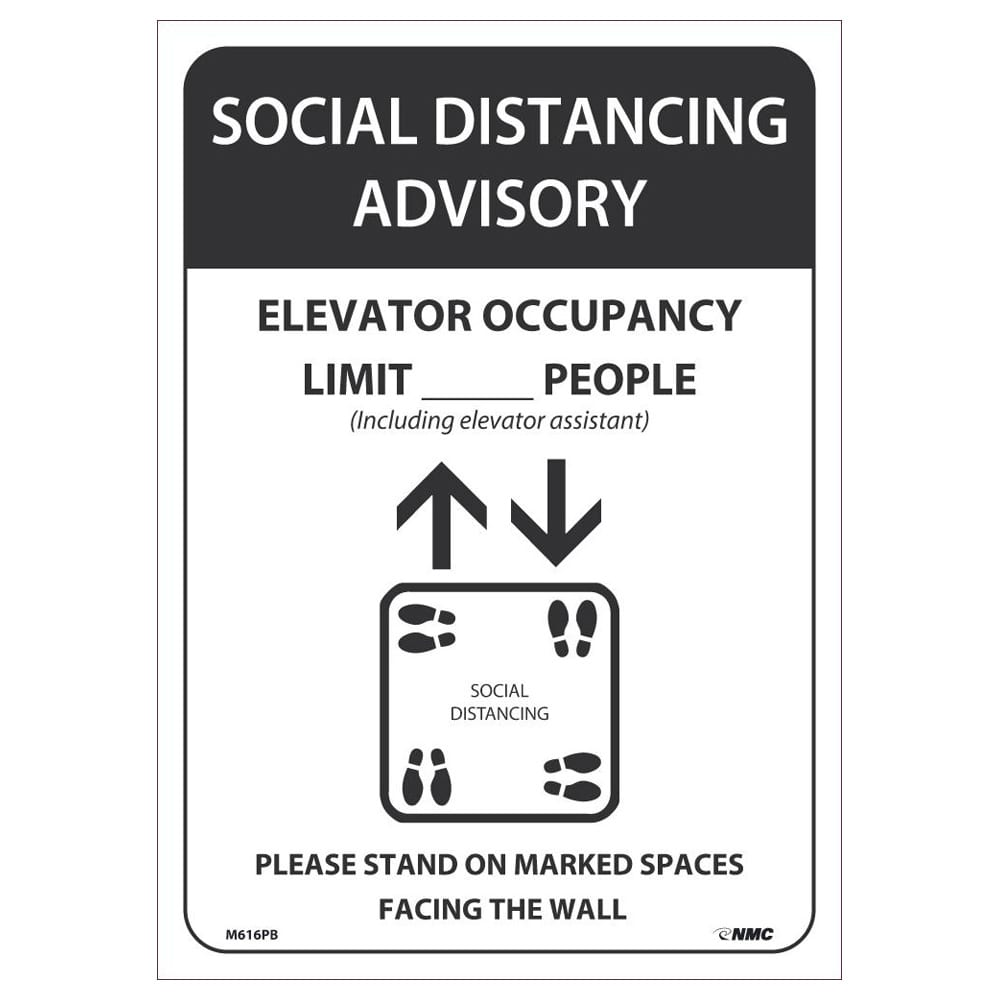 SOCIAL DISTANCING ADVISORY ELEVATORY OCCUPANY LIMIT PEOPLE SIGN, 14 X 10