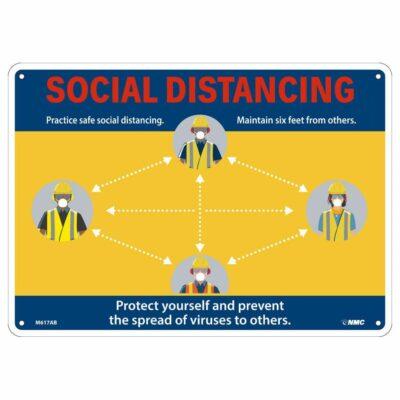 SOCIAL DISTANCING CONSTRUCTION SIGN, 10 X 14
