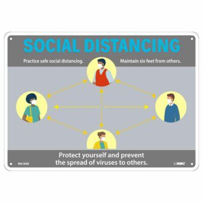 SOCIAL DISTANCING GENERAL SIGN, 10 X 14