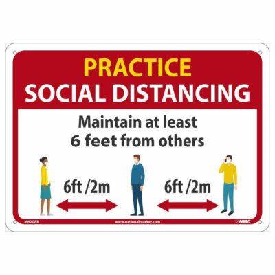 PRACTICE SOCIAL DISTANCING GENERAL SIGN, 10 X 14