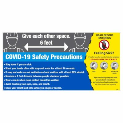 COVID-19 SAFETY PRECAUTIONS SIGN, ALUMINUM COMPOSITE PANEL, LARGE FORMAT