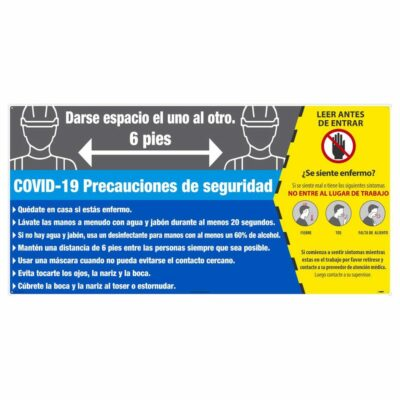 COVID-19 SAFETY PRECAUTIONS SIGN, ALUMINUM COMPOSITE PANEL, LARGE FORMAT, SPANISH