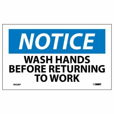 """Notice – Wash Hands Before Returning to Work Label, 3"""" x 5"""", 5-Pack"""