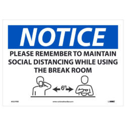 Maintain Social Distancing in Breakroom Sign, 10