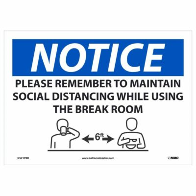 "Maintain Social Distancing in Breakroom Sign, 10"" x 14"""