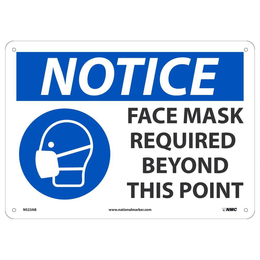 NOTICE FACE MASK REQUIRED SIGN, 10 X 14