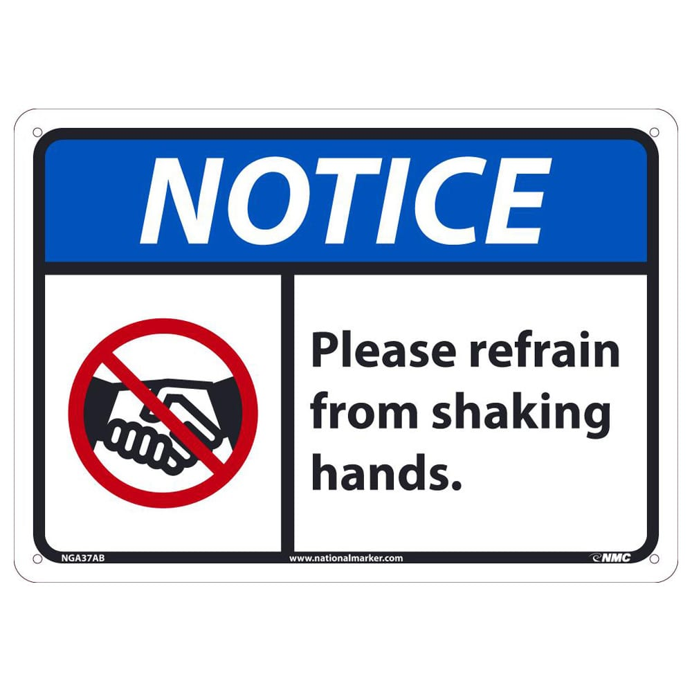 Notice – Please Refrain from Shaking Hands Sign, 10