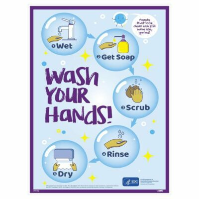 WASH YOUR HANDS STEP BY STEP POSTER